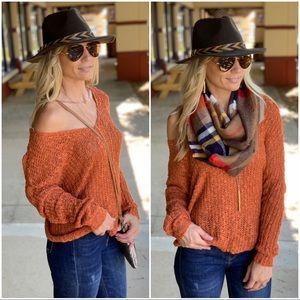 Infinity Raine Sweaters - ✨LAST ONE✨Rust Twist Back Sweater